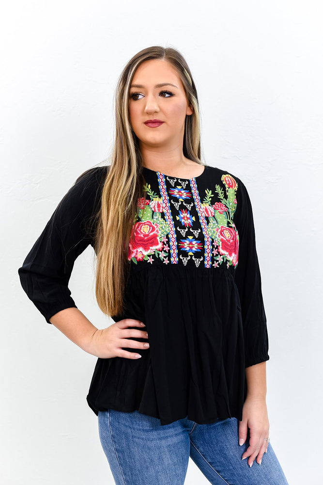 My Vision Is Clear Black/Multi Color Embroidered High-Low Top - B9769BK