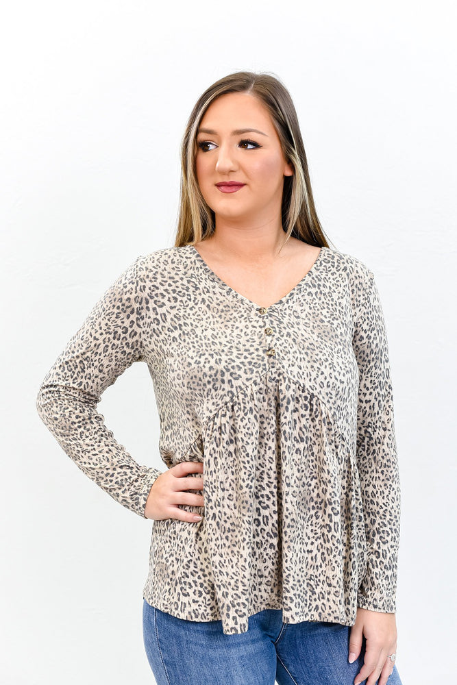 Life Is A Journey Not A Race Taupe Leopard Babydoll Top - B9782TA