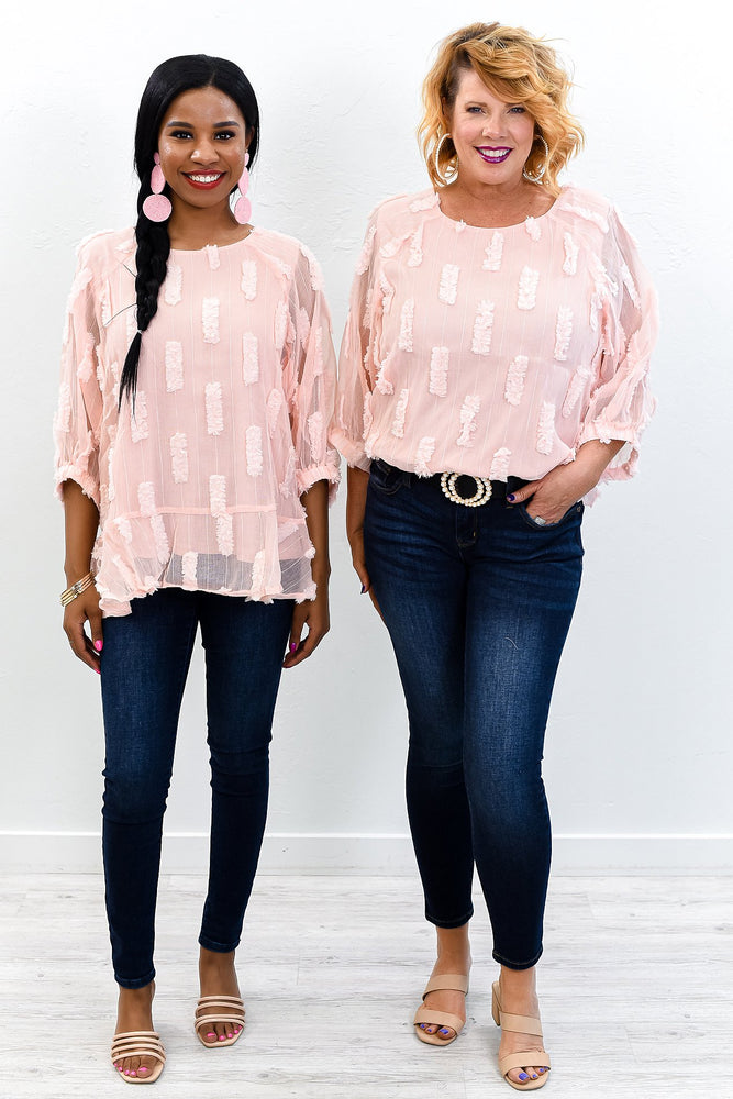 Ivy League Light Blush Lace Top - T462LBS