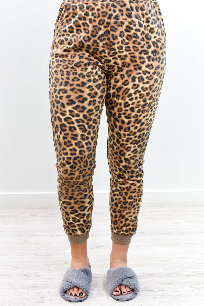 I Would Find You In Any Lifetime Brown Leopard Joggers - PNT1158BR