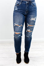 Cut To The Chase Medium Denim Distressed Jeans - K506DN