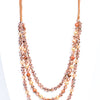Rose Gold Layered Beaded Pull Cord Necklace - NEK3495RG