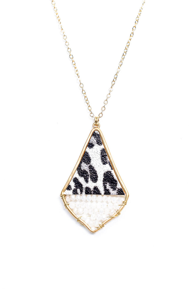 Gold/White Beaded/Gray Leopard Pendant Necklace - NEK3499GO