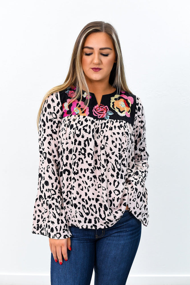 Meow Deep Is Your Love Leopard/Embroidered V Neck Top - B9125LE