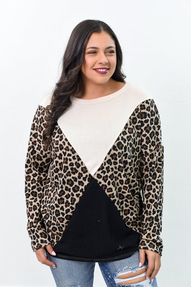 Not Catching Felines Ivory/Charcoal Gray/Leopard Colorblock Top - B9128IV