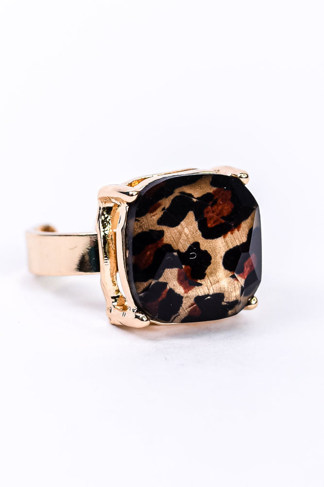 Gold/Square Leopard Adjustable Ring - RNG1092GO