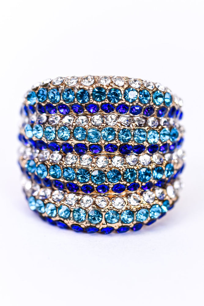 Blue/Turquoise/Gold Bling Stretch Ring - RNG1089BL