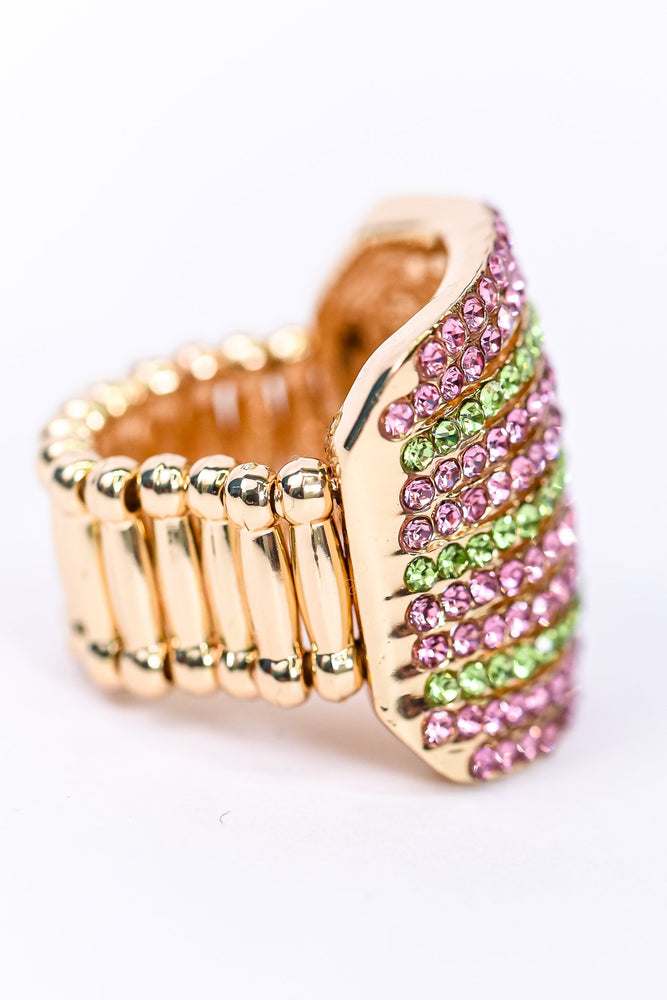 Pink/Green/Gold Bling Stretch Ring - RNG1091PK