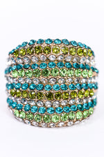 Green/Turquoise/Gold Bling Stretch Ring - RNG1090GN