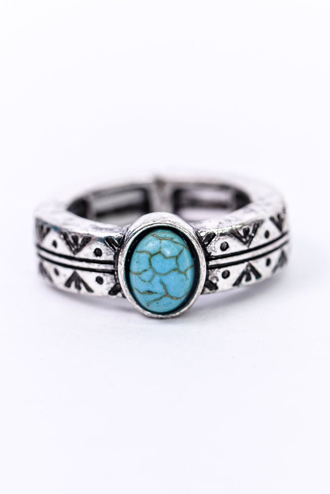 Silver/Turquoise Stone/Patterned Stretch Ring - RNG1095TQ