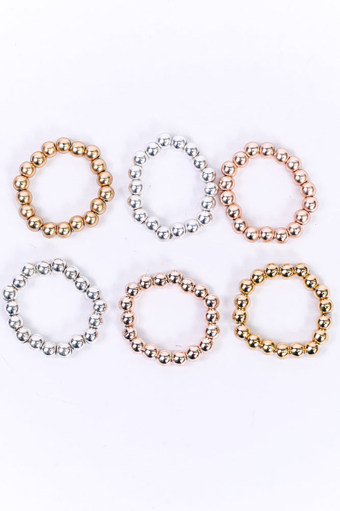 Gold/Silver/Rose Gold/Beaded/Stretch/6 Piece Ring Set - RNG1093MU