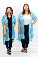 Take A Trip Around The World Jade Sequins Lace Long Kimono - O3180JD
