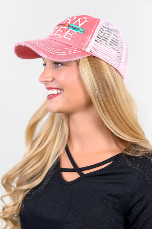 Pink Born Free Trucker Hat - HAT0010PK-Tee for the Soul