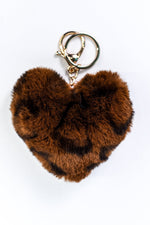 Brown Leopard Fur Heart Keychain - KEY1108BR