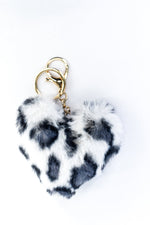 White Leopard Fur Heart Keychain - KEY1109WH
