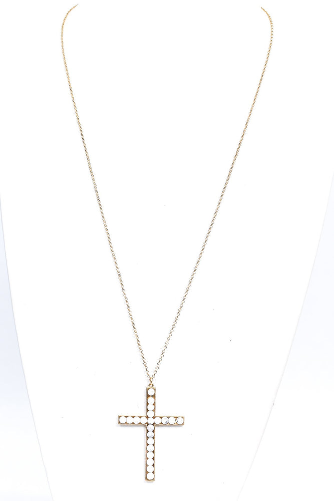 Gold/White Beaded Marble Cross Pendant Necklace - NEK3740GO