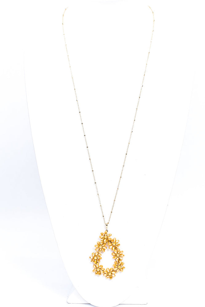 Gold/Mustard Floral Crystal Pendant Necklace - NEK3742MS