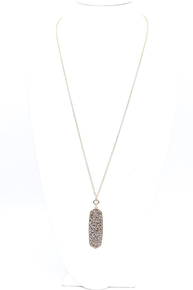 Gold Crushed Crystal Pendant Necklace - NEK3741GO