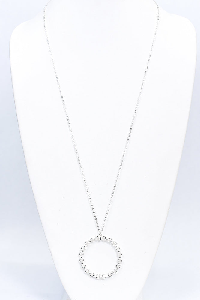Silver Chained Circle Pendant Necklace - NEK3739SI