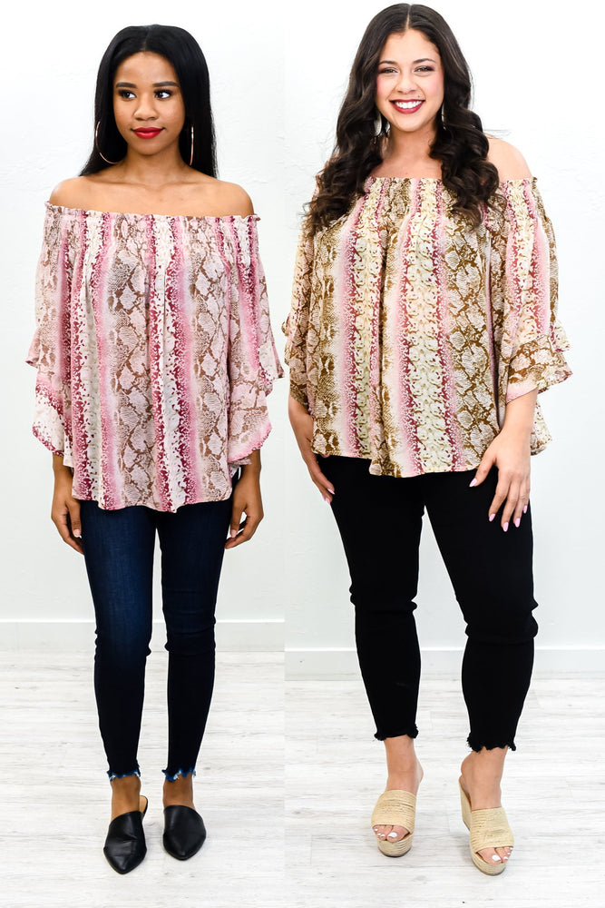 Counting The Days Rose/Brown Snakeskin Off The Shoulder Top - B10836RO