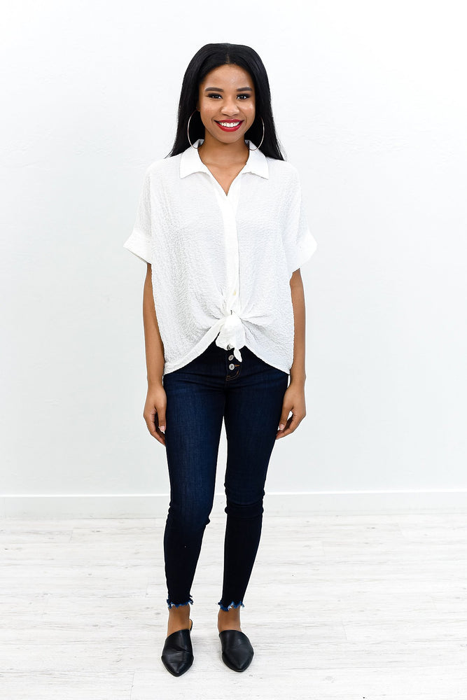 Best Day Ever White Solid Front Tie Top - B10835WH