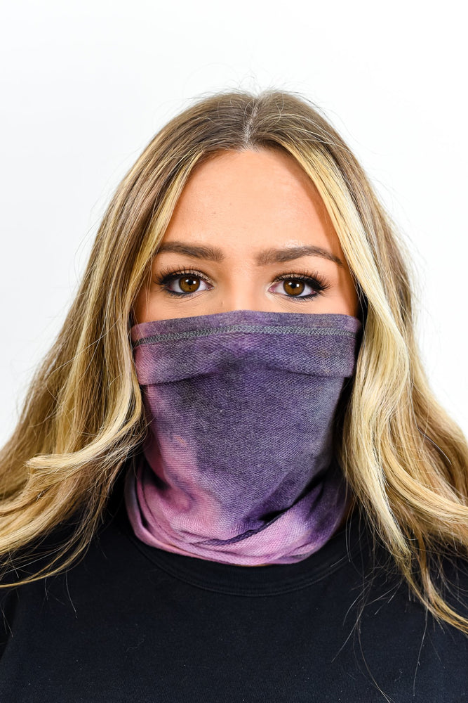 Purple/Charcoal Gray Tie Dye Gaiter Face Mask - FM128PU