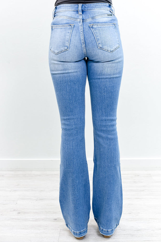 Doing The Most Medium Denim Distressed Bell Bottom Jeans - K505DN