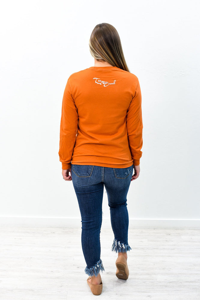Pumpkin Spice Texas Orange Long Sleeve Graphic Tee - A793TO