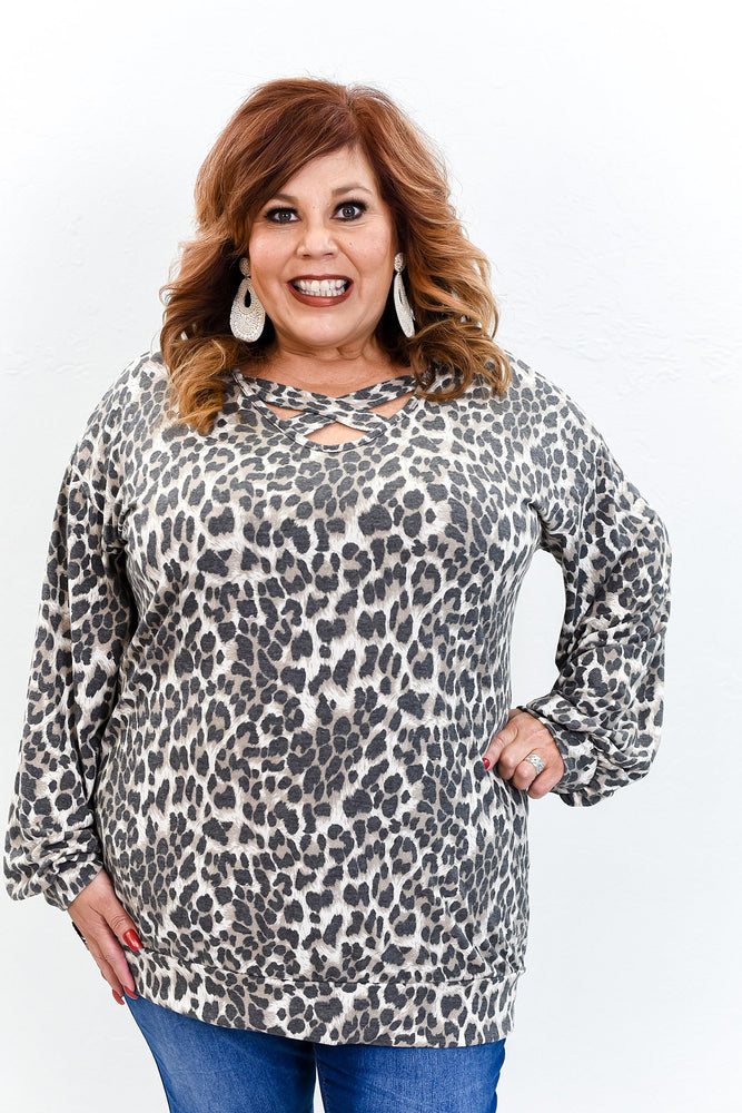 Always Your Type Leopard Crisscross Front Top - B9747LE