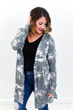Vibe With Me Charcoal Gray/Ivory Tie Dye Cardigan - O2794CG