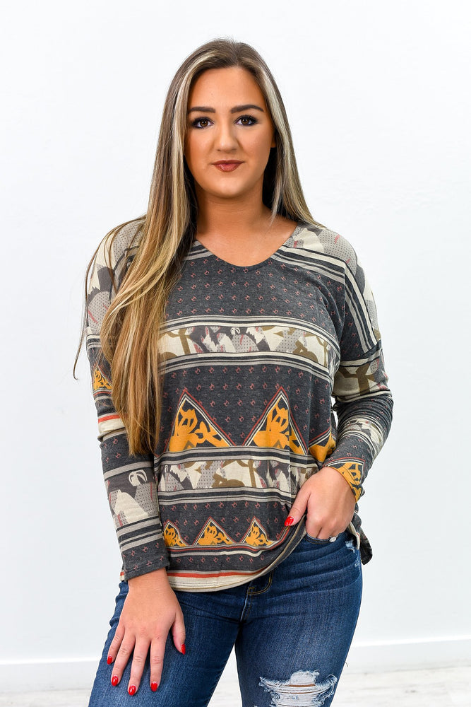 In My Element Charcoal Gray/Multi Color/Pattern Long Sleeve Top - B9171CG