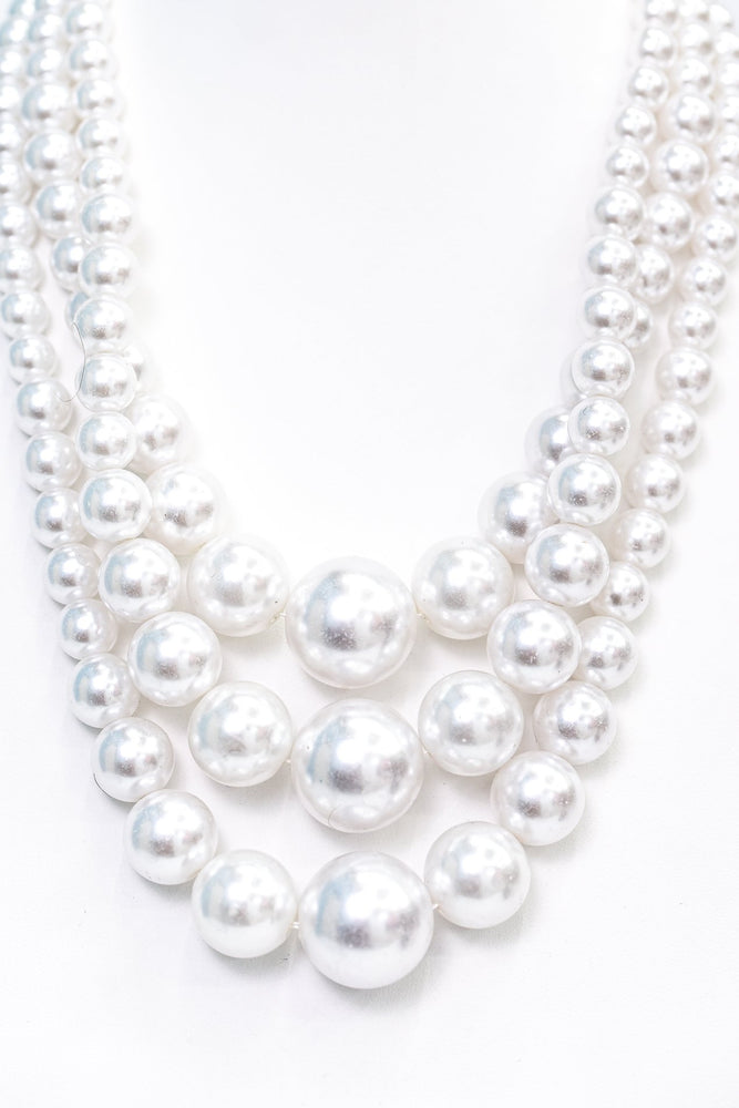 White Pearl Layered Necklace - NEK3649WH