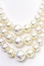 Cream Pearl Layered Necklace - NEK3648CR
