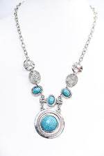 Silver/Turquoise Statement Necklace - NEK3650SI