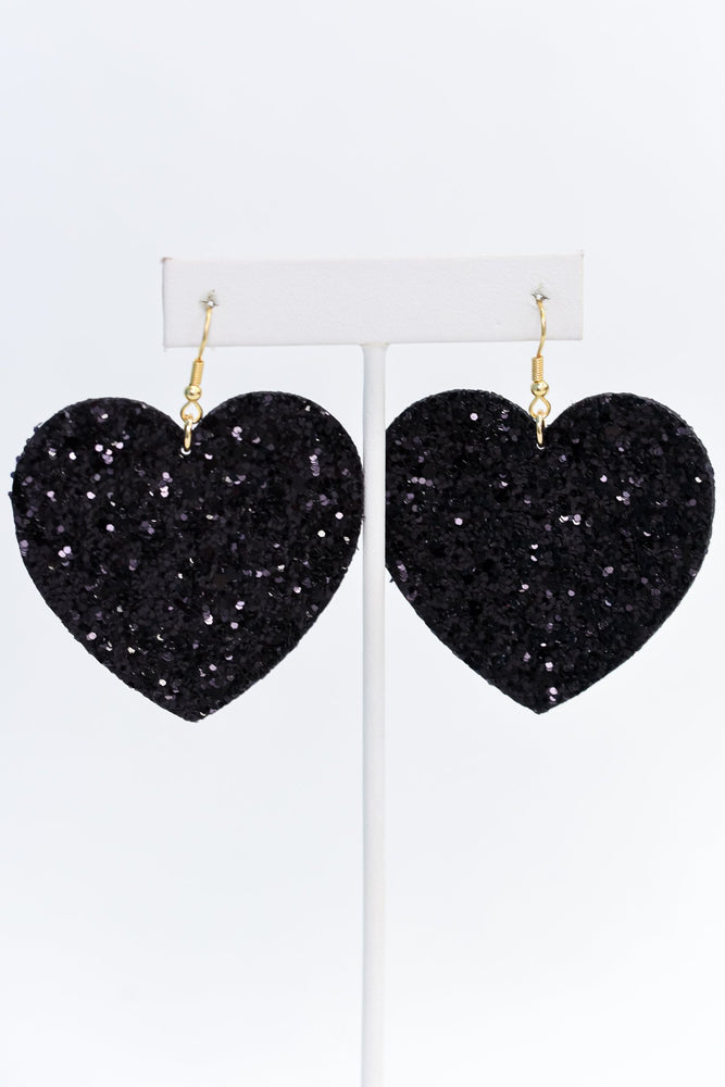 Black Glitter Heart Earrings - EAR3207BK