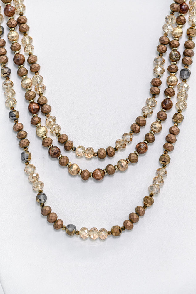 Brown/Crystal Layered Beaded Pull Cord Necklace - NEK3510BR