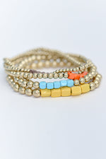 Gold/Multi Color Beaded Stackable Stretch Bracelet - BRC2820GO