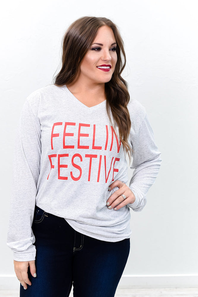 Feelin Festive White Fleck V Neck Long Sleeve Graphic Tee - A891WH