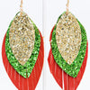 Red/Green/Gold 3 Layered Glitter Feather Earrings - EAR3105RD