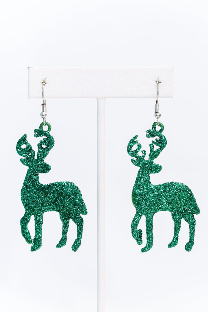 Green Glitter Reindeer Earrings - EAR3093GN