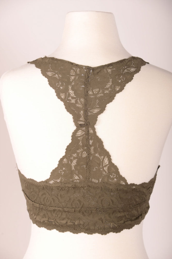 Lace Racerback Bralette (Sizes 4-14) - Olive - BRA303OL-Tee for the Soul