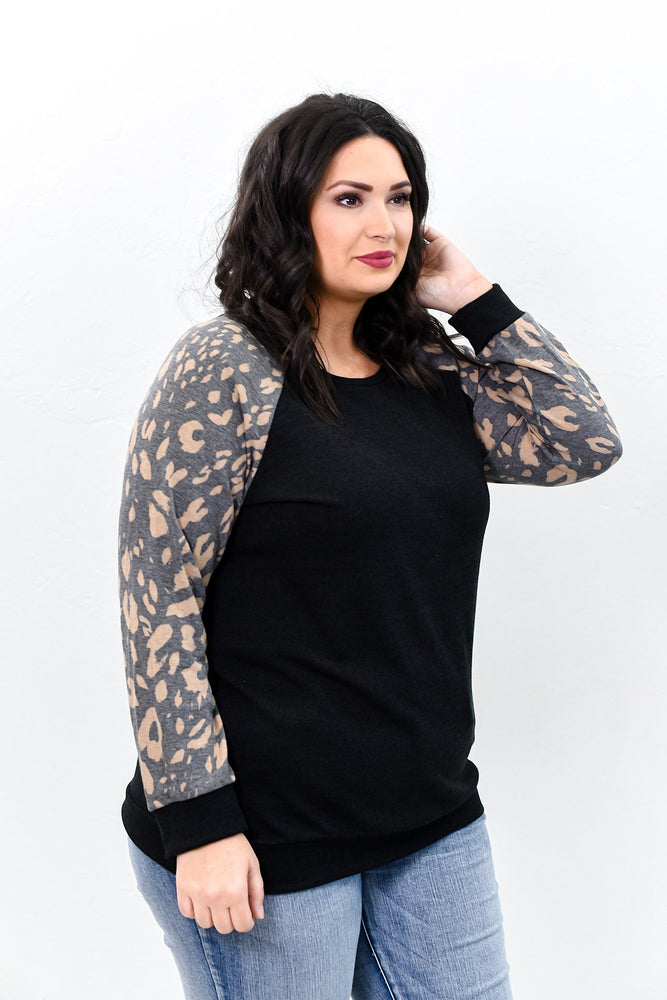 Purpose Fuels Passion Black/Mocha Leopard Top - B9794BK