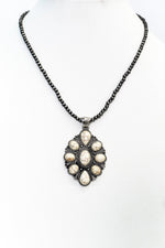Ivory/Silver Ornate Pendant/Beaded Necklace - NEK3658IV