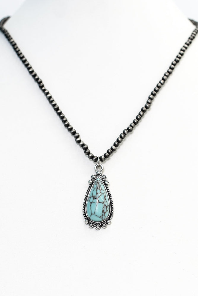 Turquoise/Silver Teardrop Pendant/Beaded Necklace - NEK3657TU