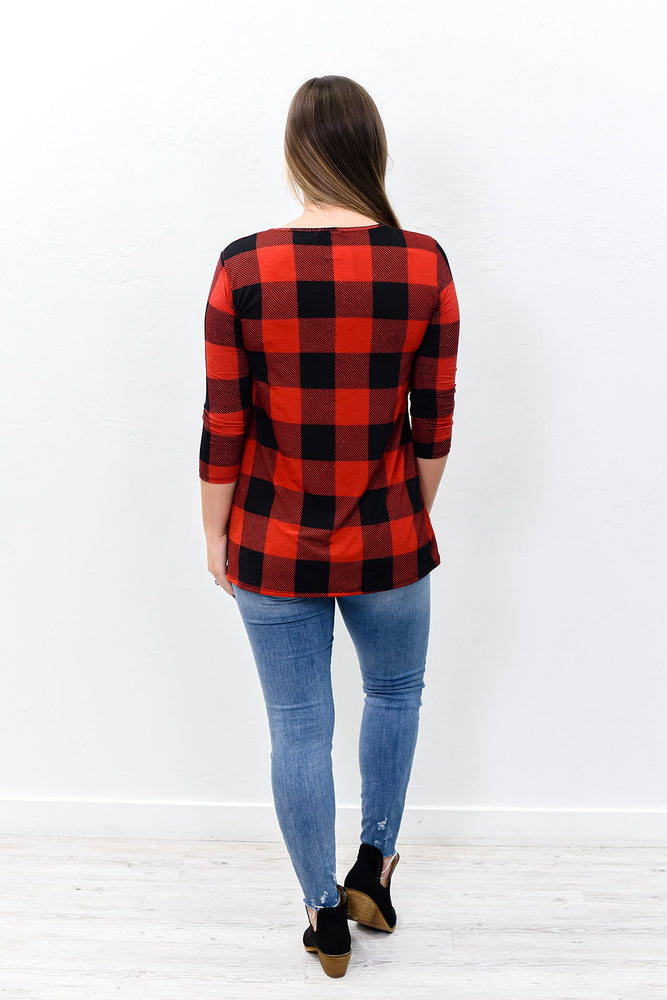 Prove Them Wrong Red/Black Checkered Crisscross Front Top - B9779RD