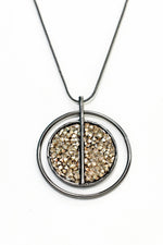 Black/Gold Crushed Crystal Circle Pendant Necklace - NEK3654BK