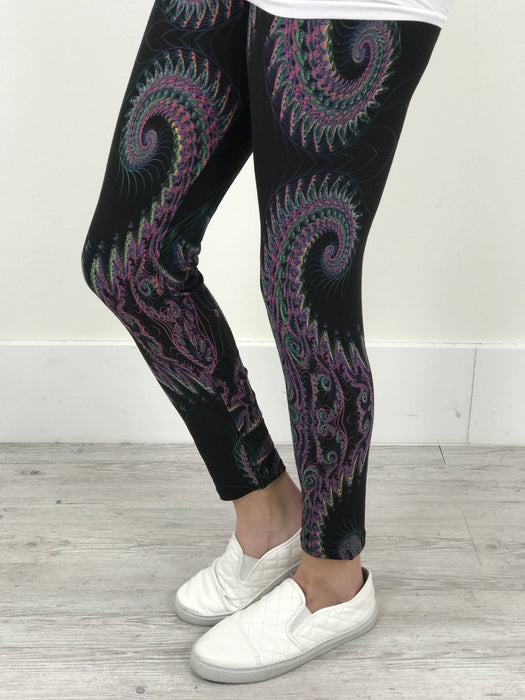 Black/Multi Color Printed Leggings (Sizes 4-12) - LEG1533BK