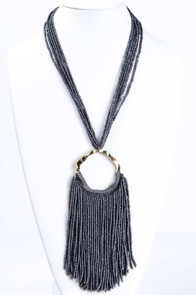 Gray Large Tassel Necklace - NEK1181GR