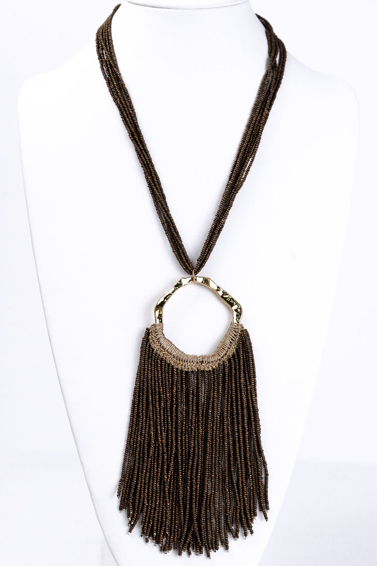 Brown Large Tassel Necklace - NEK1180BR