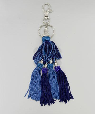 Blue 2-Tier Beaded/Tassel Keychain - KEY1040BL